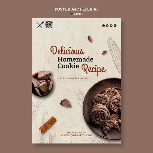 Köstliche hausgemachte keksrezept-flyer-vorlage Kostenlosen PSD