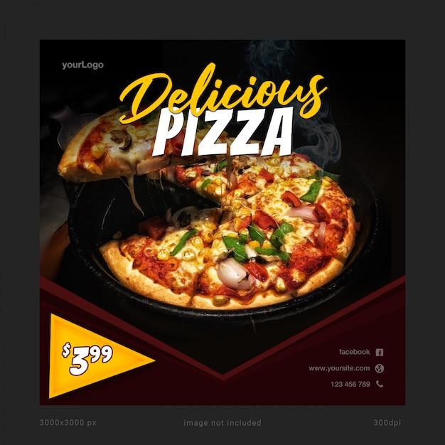 Köstliche pizza-social media-fahnen-schablone Premium PSD