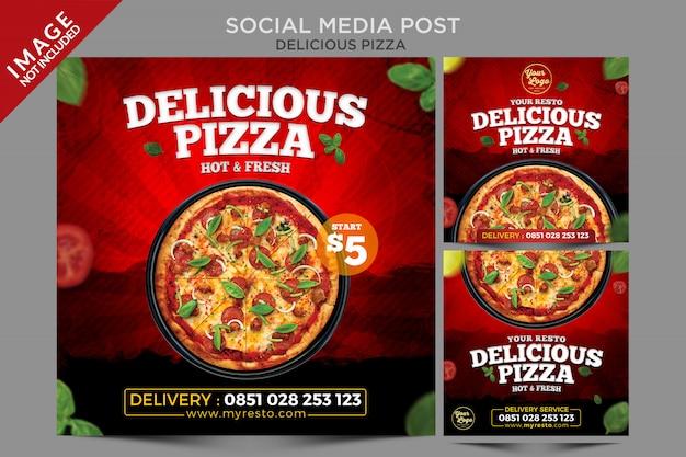 Köstliche pizza social media post template serie Premium PSD