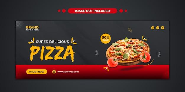 Köstliche pizza-speisekarte facebook-cover und web-banner-vorlage Premium PSD