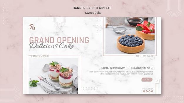 Köstliche süße kuchenladen-bannerschablone Kostenlosen PSD