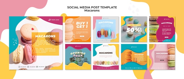 Köstliche süße macarons social media post Kostenlosen PSD