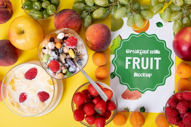 Köstliches frühstücksfruchtschub des energiemodells Kostenlosen PSD