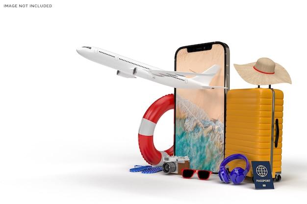 Koffer mit flugzeug, reisezubehör rendering Premium PSD
