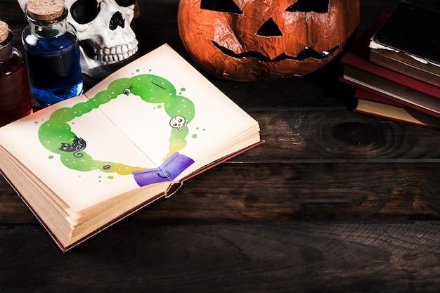 Kopieren sie raum halloween-hintergrund mit dekoration Kostenlosen PSD