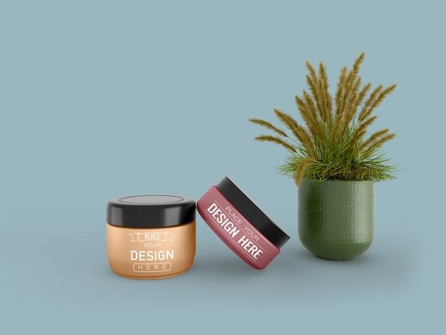 Kosmetikcremebehälter modell für creme-, lotions-, serum- und hautpflege-flaschenverpackungen. Kostenlosen PSD