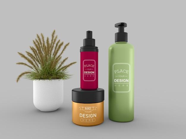Kosmetikcremebehälter und flasche modell für creme-, lotions-, serum- und hautpflege-flaschenverpackungen. Kostenlosen PSD
