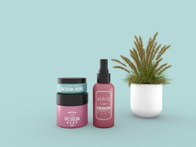 Kosmetikcremebehälter und tube modell für creme-, lotions-, serum- und hautpflege-flaschenverpackungen. Kostenlosen PSD
