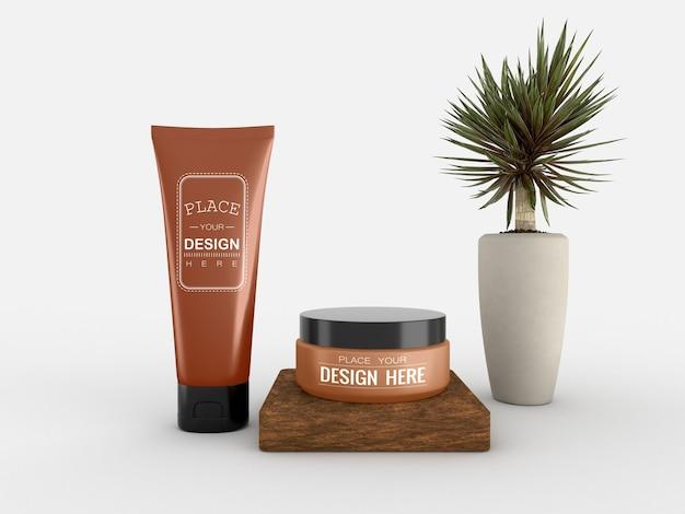 Kosmetikcremebehälter und tube modell für sahne Kostenlosen PSD