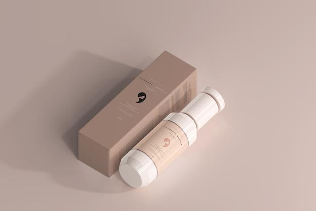 Kosmetikflasche und box mockup Kostenlosen PSD