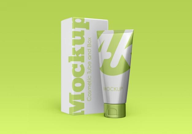 Kosmetische tube und box mockup Premium PSD
