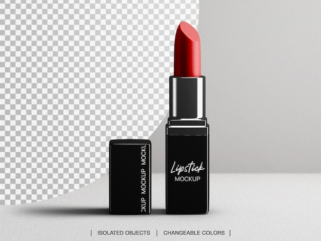 Kosmetisches lippenstift-make-up-verpackungsmodell mit isoliertem deckel Premium PSD