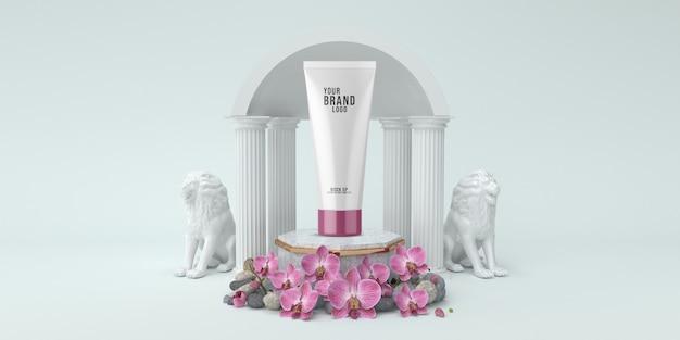 Kosmetisches schablonenstudio mit weißer farbe 3d des podiums und der spalten übertragen Premium PSD