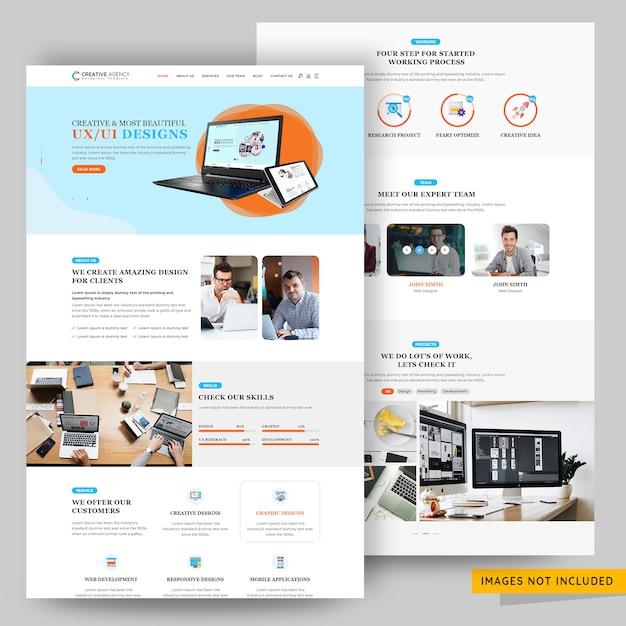 Kreative agentur- und geschäftsmarketing-webseitenschablone Premium PSD
