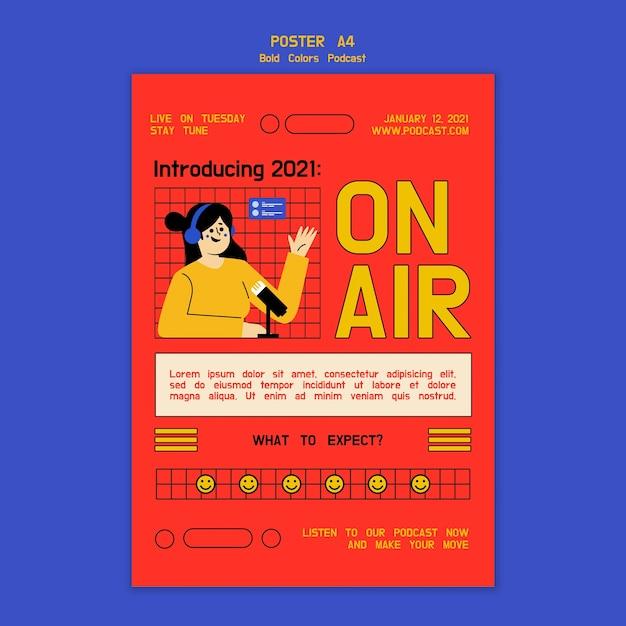 Kreative illustrierte podcast-flyer-vorlage Kostenlosen PSD