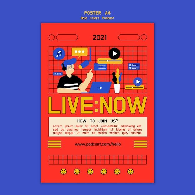Kreative illustrierte podcast-poster-vorlage Kostenlosen PSD
