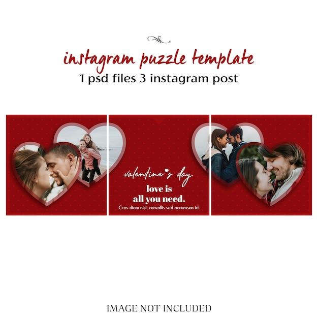 Kreative moderne romantische valentinstag-instagram-puzzlespiel-beitrags-schablone und foto-modell Premium PSD