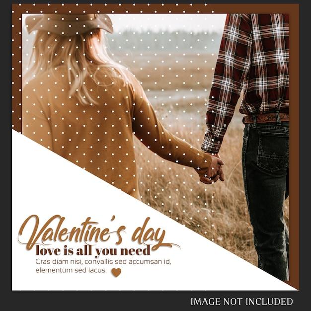 Kreative moderne romantische valentinstag-instagram-schablone und foto-modell Premium PSD