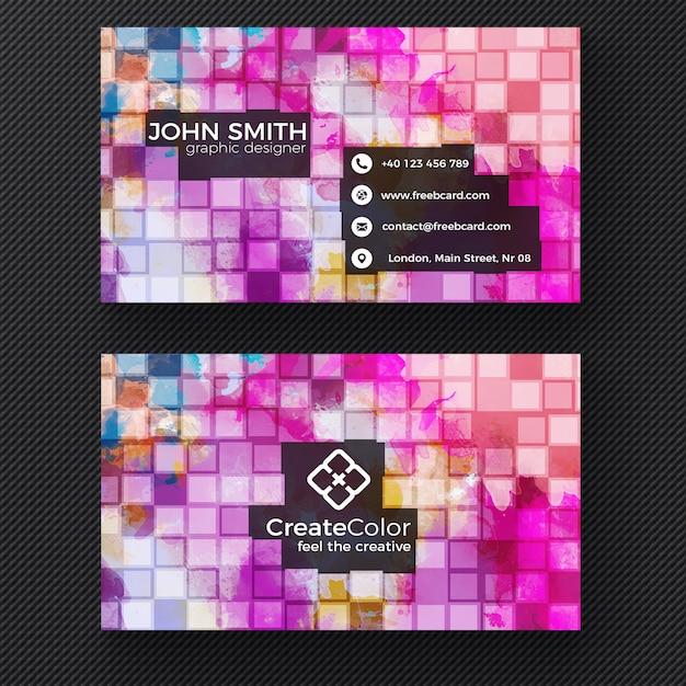 Kreative Visitenkarte Auf Pixel Hintergrund Kostenlose Psd