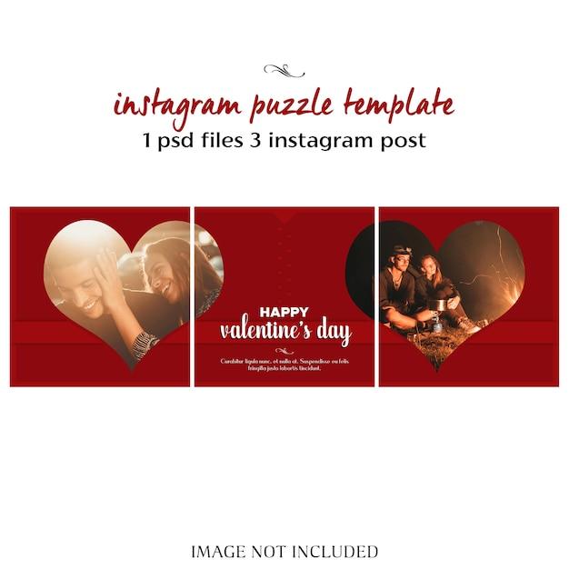 Kreativer moderner romantischer valentine day instagram-puzzlespiel oder collagen-posten-schablone und foto-modell Premium PSD