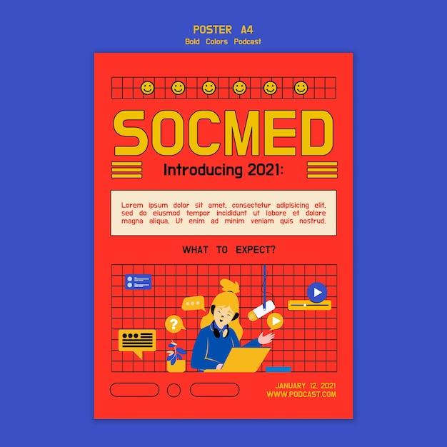 Kreatives illustriertes podcast-poster Kostenlosen PSD
