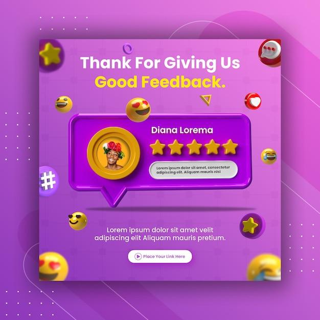 Kreatives konzept feedback-bewertung und sternebewertung für social-media-post-instagram-vorlage Premium PSD