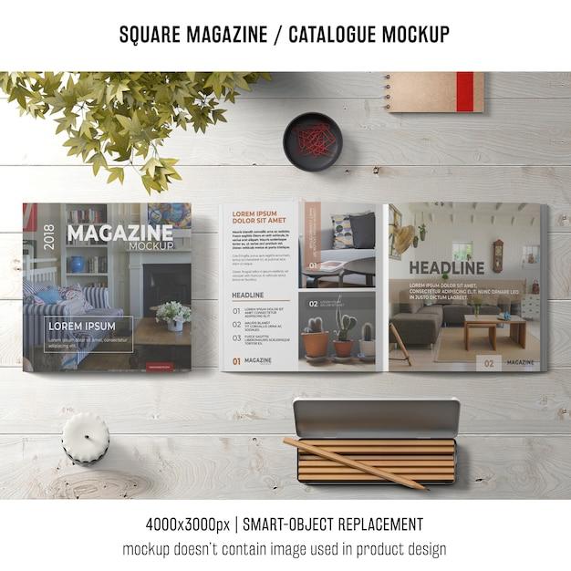 Kreatives stillleben des quadratischen magazins oder des katalogmodells Kostenlosen PSD