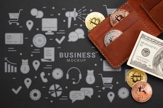 Kryptowährung und geld der draufsicht Kostenlosen PSD