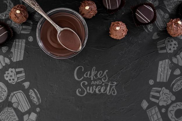 Kuchen und süßigkeiten kritzeleien und tasse geschmolzene schokolade Kostenlosen PSD