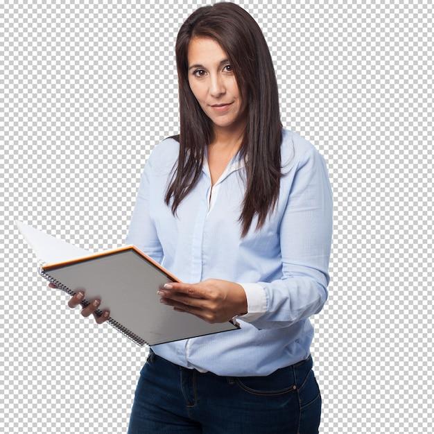Kühle geschäftsfrau mit notizbuch Premium PSD