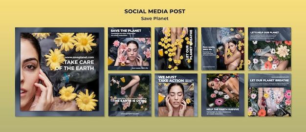Kümmere dich um den social-media-beitrag der erde Premium PSD