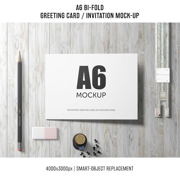 Künstlerisches a6 zweifaches einladungskartenmodell Kostenlosen PSD