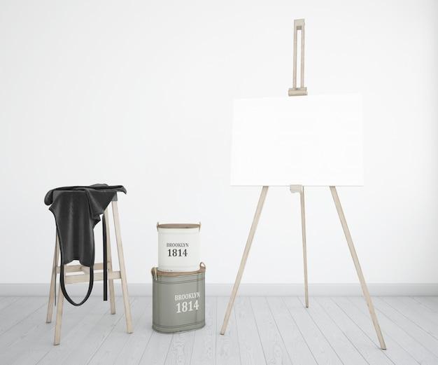 Kunstatelier mit leinwand, schürze und farbflaschen Kostenlosen PSD