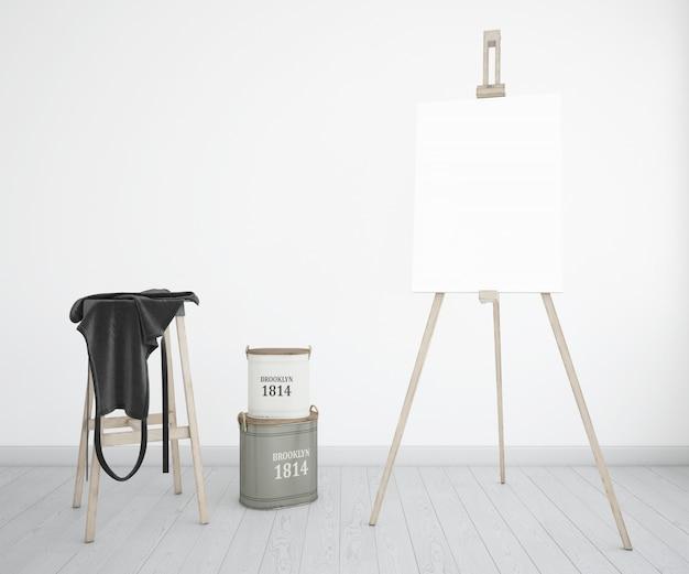 Kunstatelier mit leinwand und schürze Kostenlosen PSD