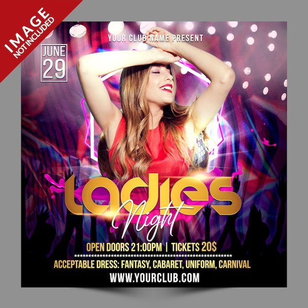 Ladies night psd social media werbevorlage Premium PSD