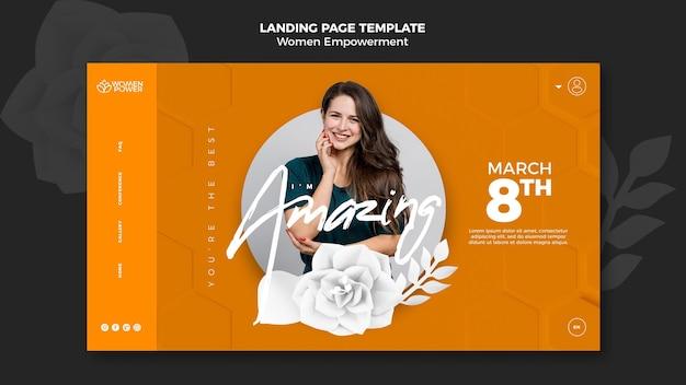 Landing page für empowerment von frauen mit ermutigendem wort Premium PSD