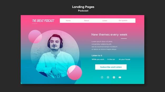 Landing page radio podcast vorlage Kostenlosen PSD