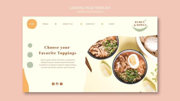 Landing page ramen restaurant vorlage Kostenlosen PSD