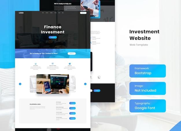 Landing template design für finanz- und investitionswebsites Premium PSD