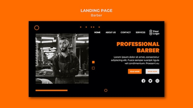 Landingpage der friseursalonvorlage Premium PSD