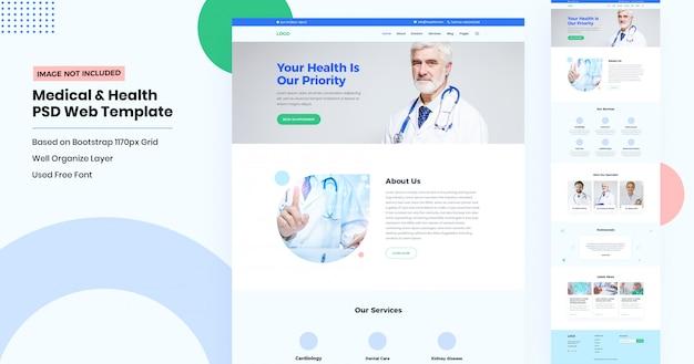 Landingpage der medizinischen und zahnmedizinischen website Premium PSD