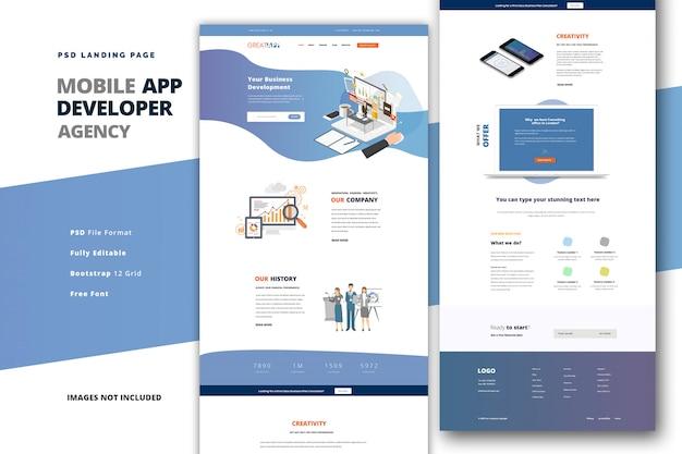 Landingpage für codierungsagentur für entwickler mobiler apps Premium PSD