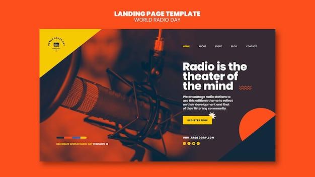 Landingpage für den weltradiotag mit sender und mikrofon Kostenlosen PSD