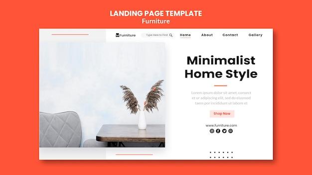 Landingpage für minimalistische möbeldesigns Kostenlosen PSD