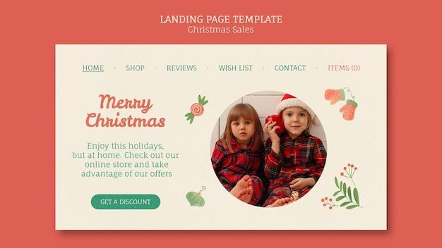 Landingpage für weihnachtsverkauf mit kindern Kostenlosen PSD