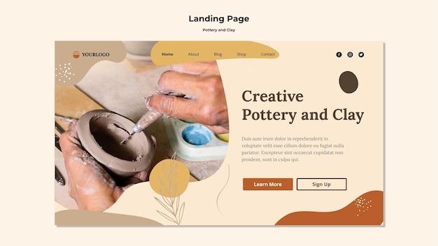 Landingpage-vorlage aus keramik und ton Kostenlosen PSD
