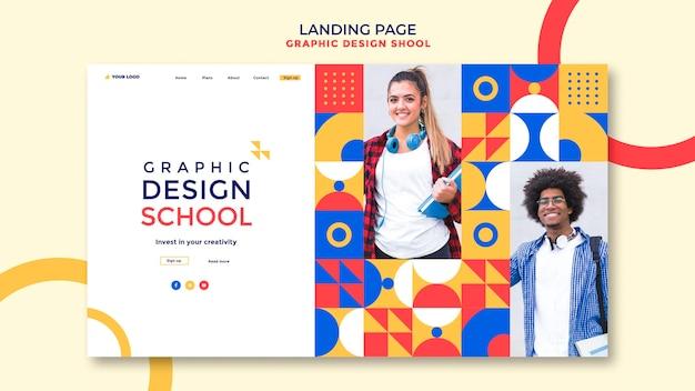 Landingpage-vorlage der grafikdesignschule Kostenlosen PSD