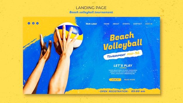 Landingpage-vorlage des beachvolleyball-konzepts Premium PSD