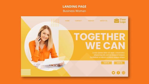 Landingpage-vorlage des geschäftsfrauenkonzepts Kostenlosen PSD