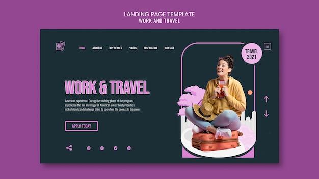 Landingpage-vorlage für arbeit und reisen Premium PSD